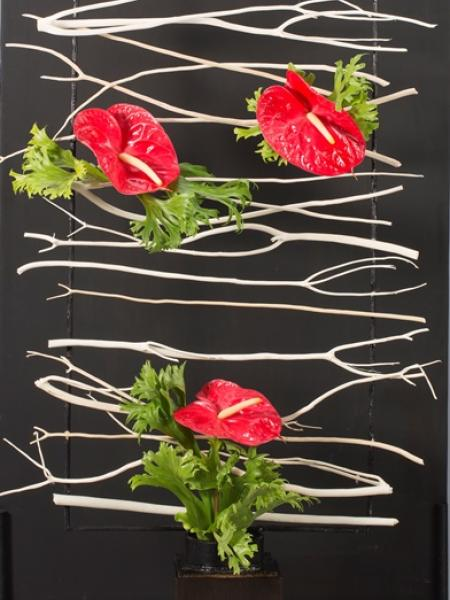 Floral Design of White Branches and Red Anthurium